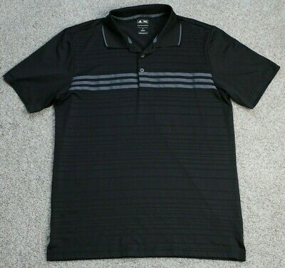 Mens M Medium Adidas Black Gray Puremotion Golf Polo Shirt S/S Performance Sport
