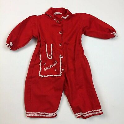 Vintage 50's Diaper Jeans Girl's Baby M Jumpsuit Whistle Pit Red White Outfit G8