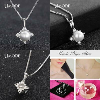 UMODE Real Sterling Silver 925 Chain Necklaces Natural Fresh Water Pearl Pendant