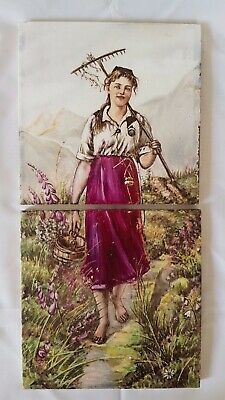 Stunning Minton Hand Painted Portrait Of A  Lady Gardening  6 Inch Tile Diptych