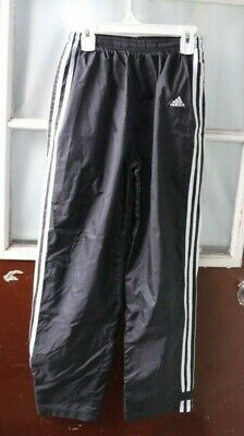 Adidas Wind Pants Girls size L 14 Black Lined Track Suit Sport Athletic -BB=