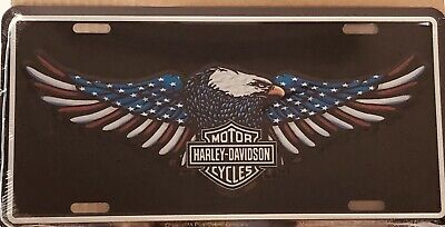Harley Davidson American Flag Eagle License Plate Metal with Raised Graphics