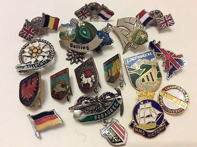 Mixed lot vintage badges pins brooch around world ,Liverpool league,hms victory
