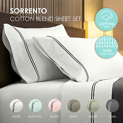Renee Taylor 1000TC Sorrento Sheet Set Cotton Soft Touch Hotel Quality Bedding