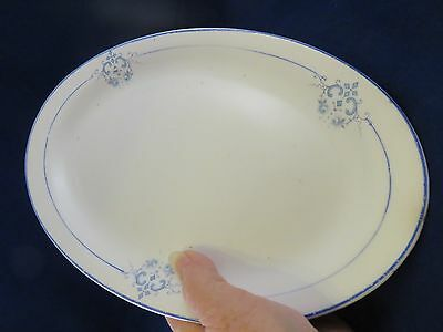 Small Platter by Homer Laughlin w Blue Pattern on White  (787)