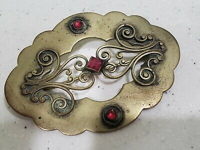Antique Victorian Art and Crafts Brooch - RUBY RED GLASS FILIGREE BRASS PIN
