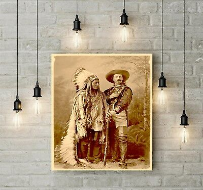 1887 DF Barry Buffalo Bill Cody Sitting Bull Wild West Show Hunter Indian Photo