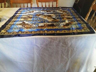 NWOT! LARGE Chic ITALIAN SCARF in Blues, Browns, Gold  98x97cm