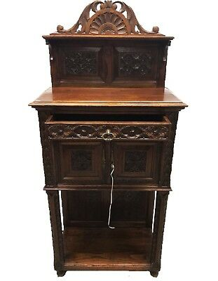 Antique French Carved Church Vestry Altar Gothic Sacristry Wine Cabinet Bookcase