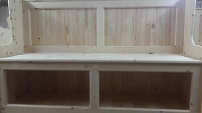 4ft monks bench church pew settle with fixed seat and front loading storage.