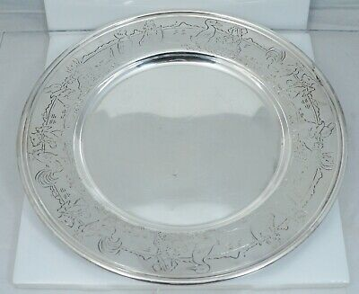 Art Nouveau Sterling Silver Nursery Rhyme Dish Charger Plate Antique Vintage Old