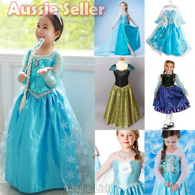 Kids Girl Queen ELSA Princess ANNA Costume Party Birthday Dress 1-8 Years