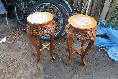 2x vintage Chinese  carved pedestal pot display stand  wood marble