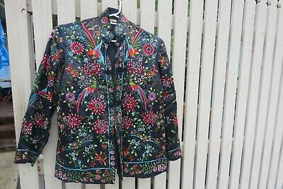 vintage Plum blossom chinese silk embroidered coat kimono jacket bird flowers