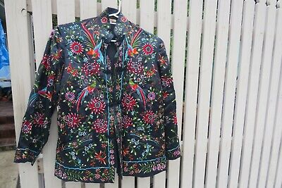 vintage Plum blossoms chinese silk embroidered coat kimono jacket bird flowers