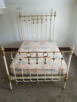 Antique Victorian Double Brass Bed with sprung base and mattress.