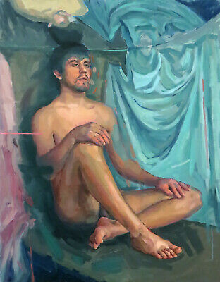 Young Man Male Figure Body Nude Anatomy Academic Figurative Oil Art Painting