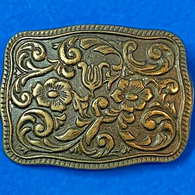 Women's Western Country Style Embossed Floral BRASS BELT BUCKLE
