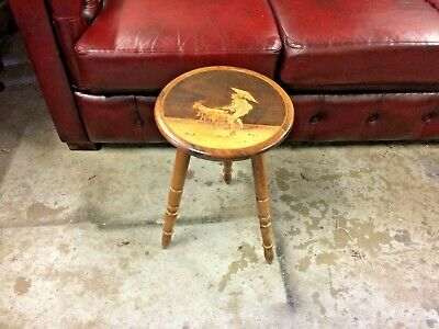 Pretty Decorated Vintage Turned Olive Wood Decorated Stool or Occasional Table