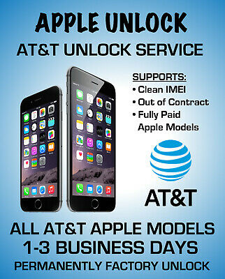 At&T Unlock Service For Htc,Samsung, Iphone, Xs Xr X 8 8+ 7+ 7 6+ 6 Clean Imei
