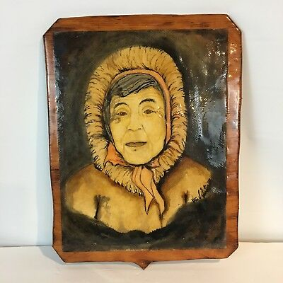 Steve S Garcia Eskimo Indian Portrait Wall Art Hanging Lacquered Wooden 18 x 14