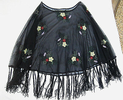 Gypsy Embroidered, Fringed  Beaded Mesh Poncho Angel Sleeve Top ( 10 / 12 )