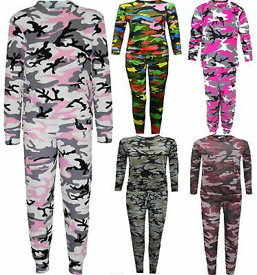 Kids Camouflage Print Lounge Wear Tracksuit Girl Jogging Bottom Top Set Age 4-13