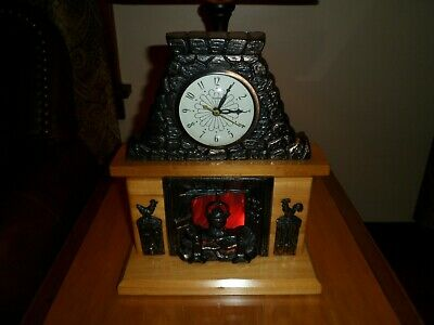 Vintage United Fireplace Clock With Lighted Hearth Model 402 Electric Mantel