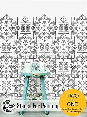 CASSIS Mediterranean Moroccan Tile - Furniture Wall Floor Stencil for Painting