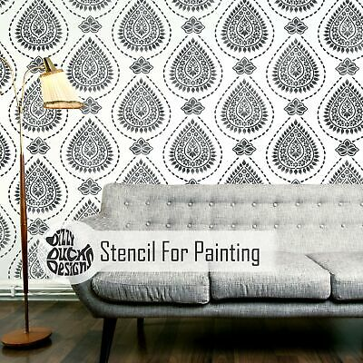KASHMIR Indian Stencil - Furniture Wall Floor Stencil for Painting