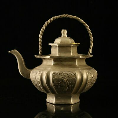 """6"""" Chinese antique bronze silvering gilt gold old man tiliang wine pot"""
