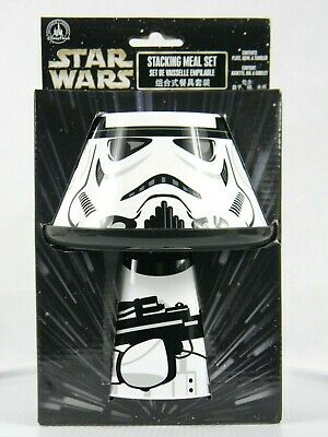 Disney Parks Star Wars Storm Trooper Stacking Meal Set Bowl Plate Cup NEW