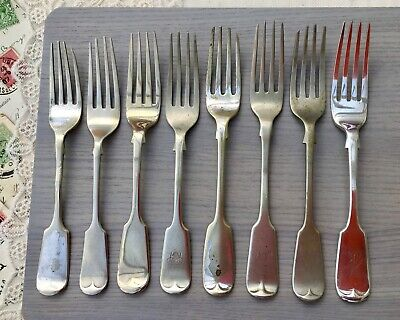 FIDDLE FORKS - D&A BENGAL - HH EXPRESS - ECODA SILVER JOB LOT x8 ANTIQUE CUTLERY