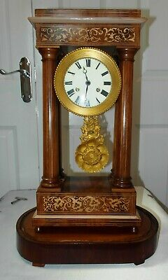 Antique French Empire Fully Working Portico Clock Decorative Inlay
