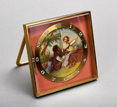 Old Swiss Benrus Boudoir Alarm Clock w/ French Style Courting Couple 823674 asis