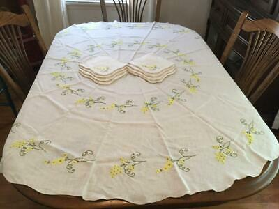 "Vintage 2 White Round Tablecloth Yellow Green Embroidery Flower 68""D & 8 Napkins"