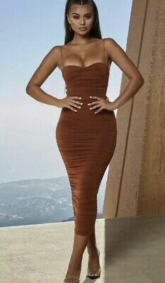 e5747043db Oh Polly Drop A Bombshell Rust Midaxi Bodycon Tight Dress 10 New Tags