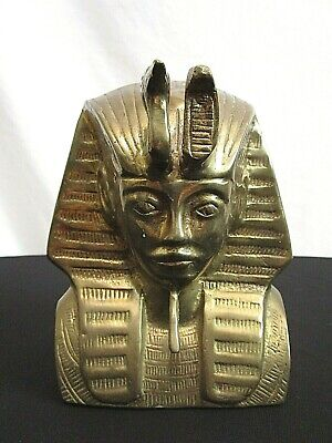 "King Tut Pharaoh 6"" Solid Brass Egyptian Paperweight Bookend Doorstop Statue"