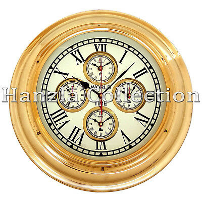"17"" Polished Brass World Time Clock Nautical Ship Wall Clock Home & Office Decor"