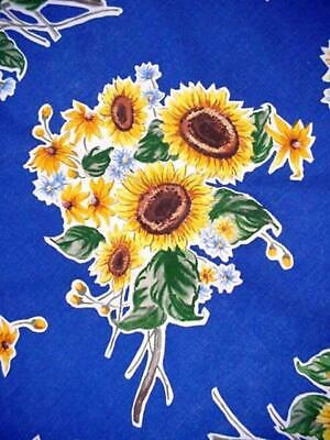 Round Summer SUNFLOWER Tablecloth Sunny FLORAL Bouquets On Blue BRIGHT Colorful