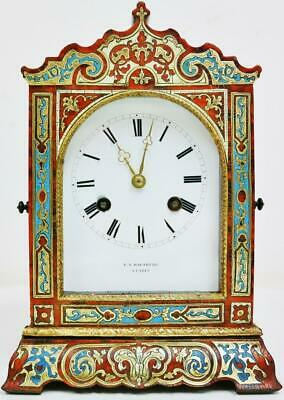 Fine Antique French Empire 8 Day Boulle & Enamelled Inlaid Officers Mantel Clock