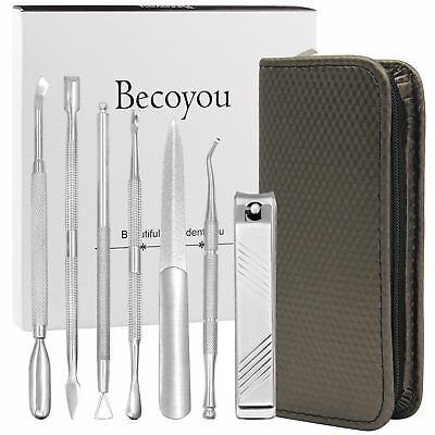 Becoyou 7 Pcs Stainless Steel Professional Manicure and Pedicure Nails Tools Set