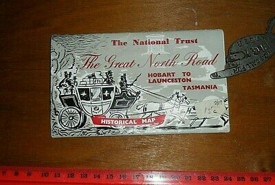 1960s Tasmanian travel Guide/MAP 'Great North Rd' Hobart to L'ton National Trust
