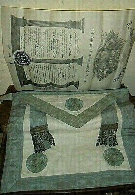 old Freemasons Apron & Certificate (NSW) in Leather case (&key) Apron no belt