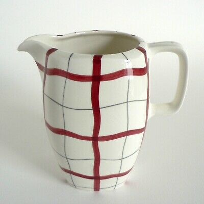 """Midwinter Pottery Homeweave Red 1 Pint Milk Jug 5"""" Tall Pitcher Vintage Tait /A1"""