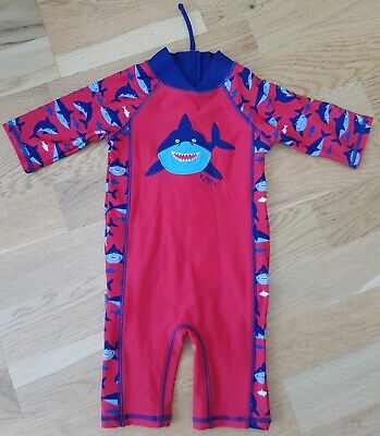 Immaculate JoJo Maman Bebe 6-12 month swimsuit sun protection suit UV swim red