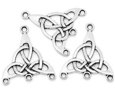 CELTIC KNOT_5/10 PC_Connector Charm Pendant Craft Silver Irish Triquetra_29x25mm