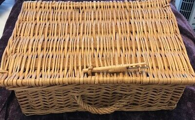 Vintage Woven Wicker Rattan Picnic Basket Suitcase Style Decorative Storage