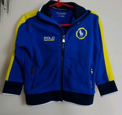 Boys Polo Sport Jacket 2T Toddler  Full Zip Blue Yellow Excellent