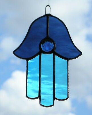 Stained Glass Ornament (Hamsa) in blues rippling waterglass